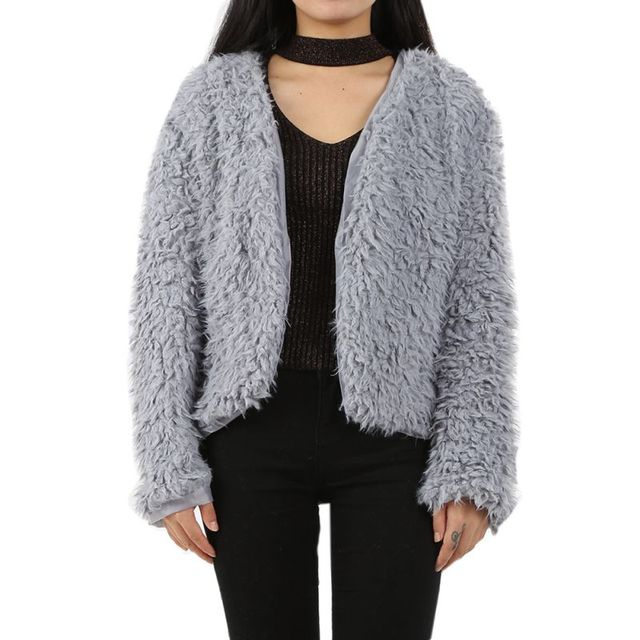 077009d3dc78 New Warm Womens Girls Fluffy Shaggy Faux Fur Cape Coat Jacket Winter  Outwear Cardigan Tops