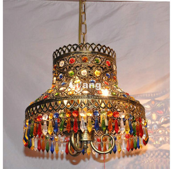 Newly Brass Colorful Style Bohemia Pendant lamp D33cm H25cm E14 Countryside Pendant Light 110V~220V Crystal Decora Pendant Lamp
