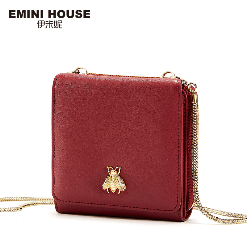 EMINI HOUSE Split Leather Wallet Women Chain Wellets Small Wallet Crossbody Bags for Women Hasp Trifold Coin Purse Card Holder casual weaving design card holder handbag hasp wallet for women