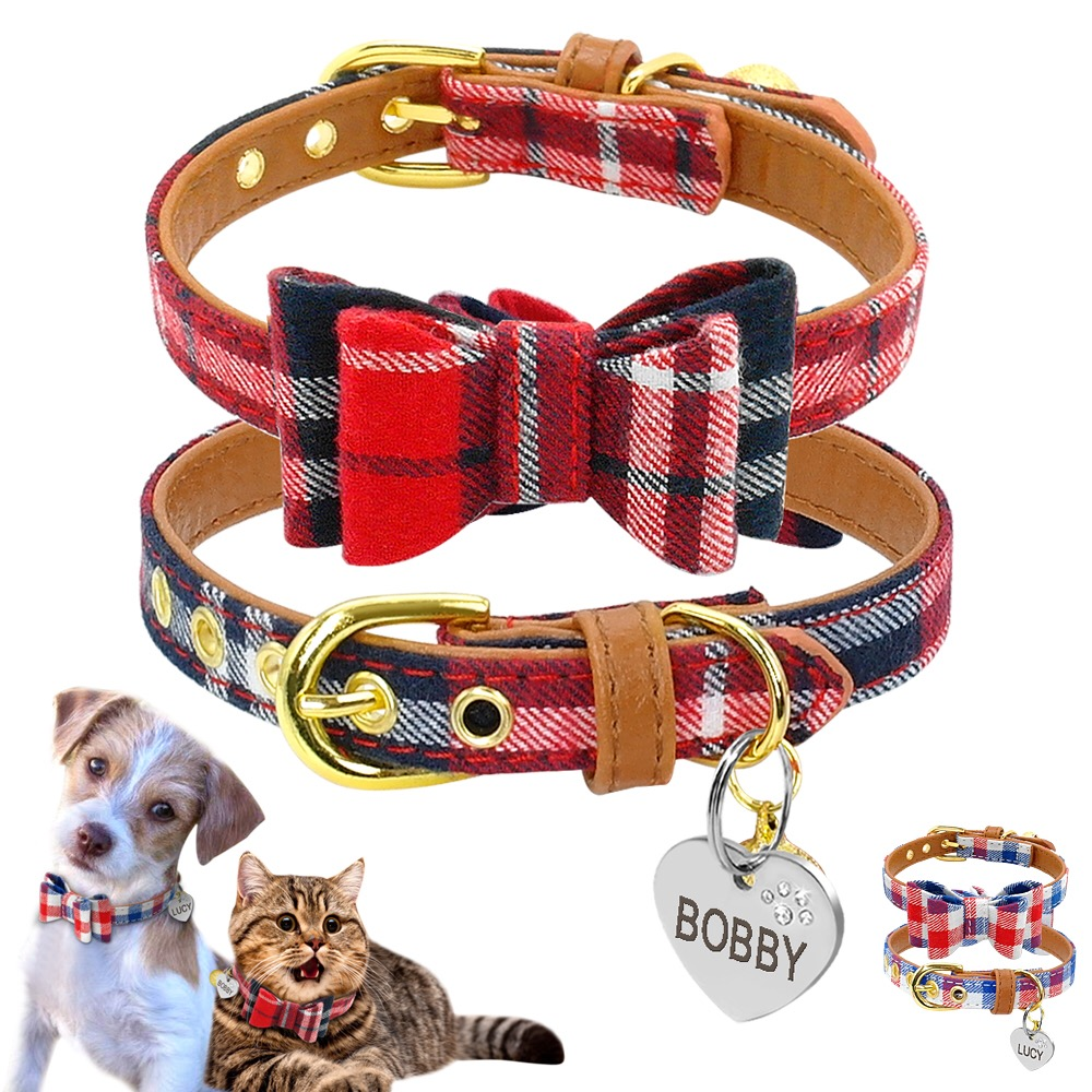 9 Styles Cute Puppy Dog Cat Collar Personalized Engraved Pet Id Tag Collars For Small Cats Dogs Custom Chihuahua Collars Bowknot