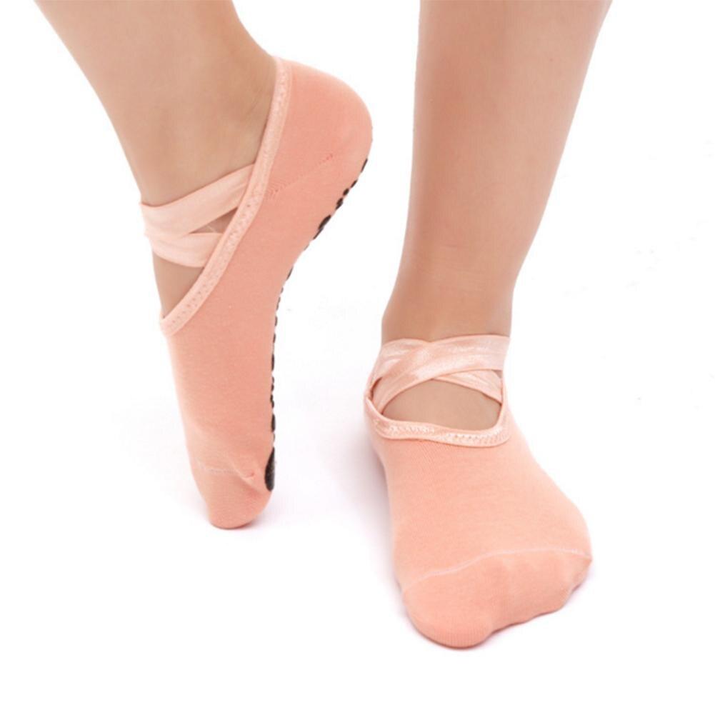 Women Yoga Socks Anti-slip Backless Silicone Non-slip Socks Dance Ballet Pilates Gym Fitness Sports Cotton Socks