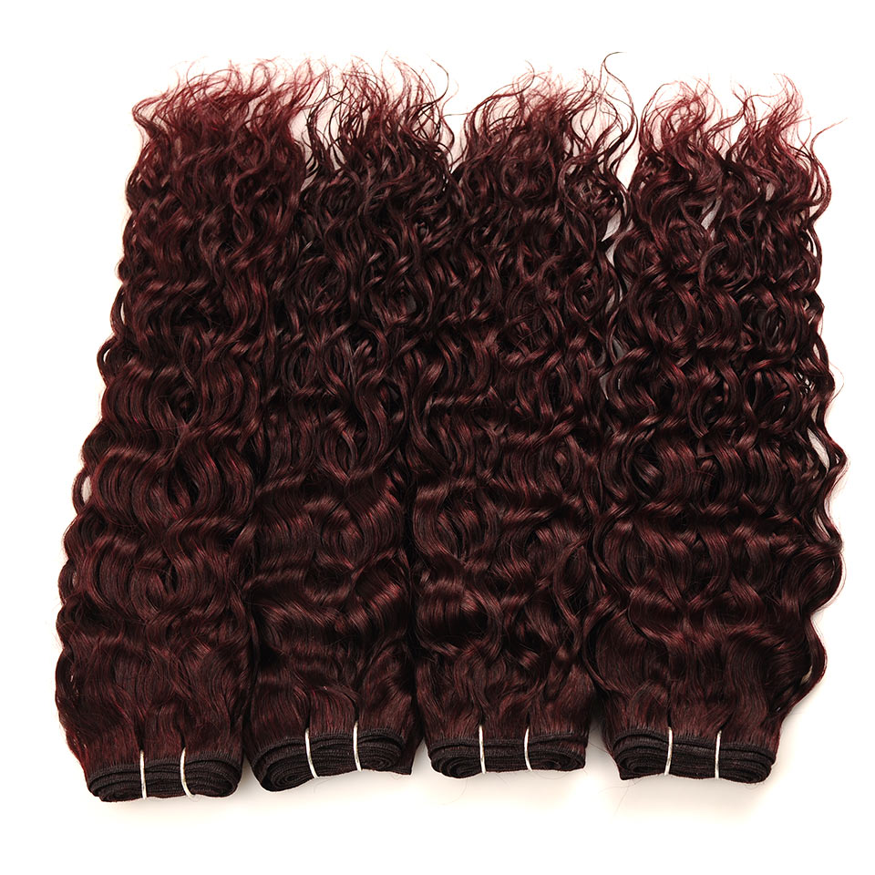 Pinshair Water Wave Hair Dark Red Peruvian 4 Bundles With Closure Burgundy Wet Wavy Non Remy Water Wave Human Hair With Closure (76)