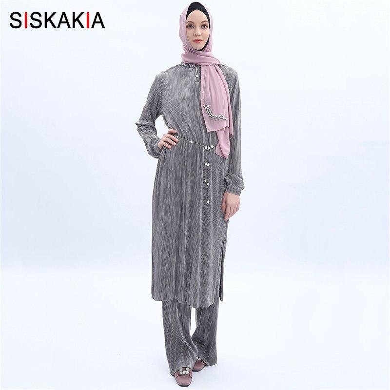 Siskakia Muslim Two Pieces Set Malaysia Islam Suit Set Pleated Blouse Tops+Long Pants Solid Grey Baju Kurung Summer 2019 New