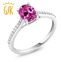 10K White Gold Diamond Accent Engagement Ring Oval Pink Created Sapphire 1 75 Ct