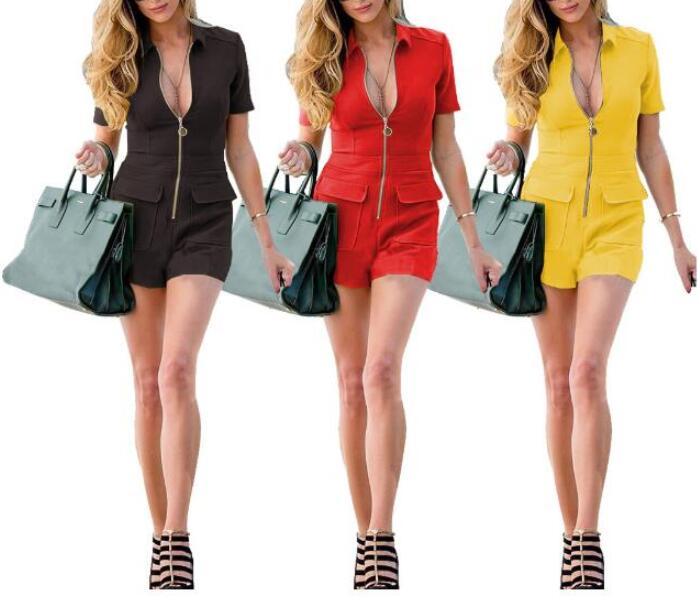 Jumpsuits Women Summer Playsuits Shorts Fashion Short Sleeve Sexy V-neck Casual Rompers Zipper Front Bodysuit