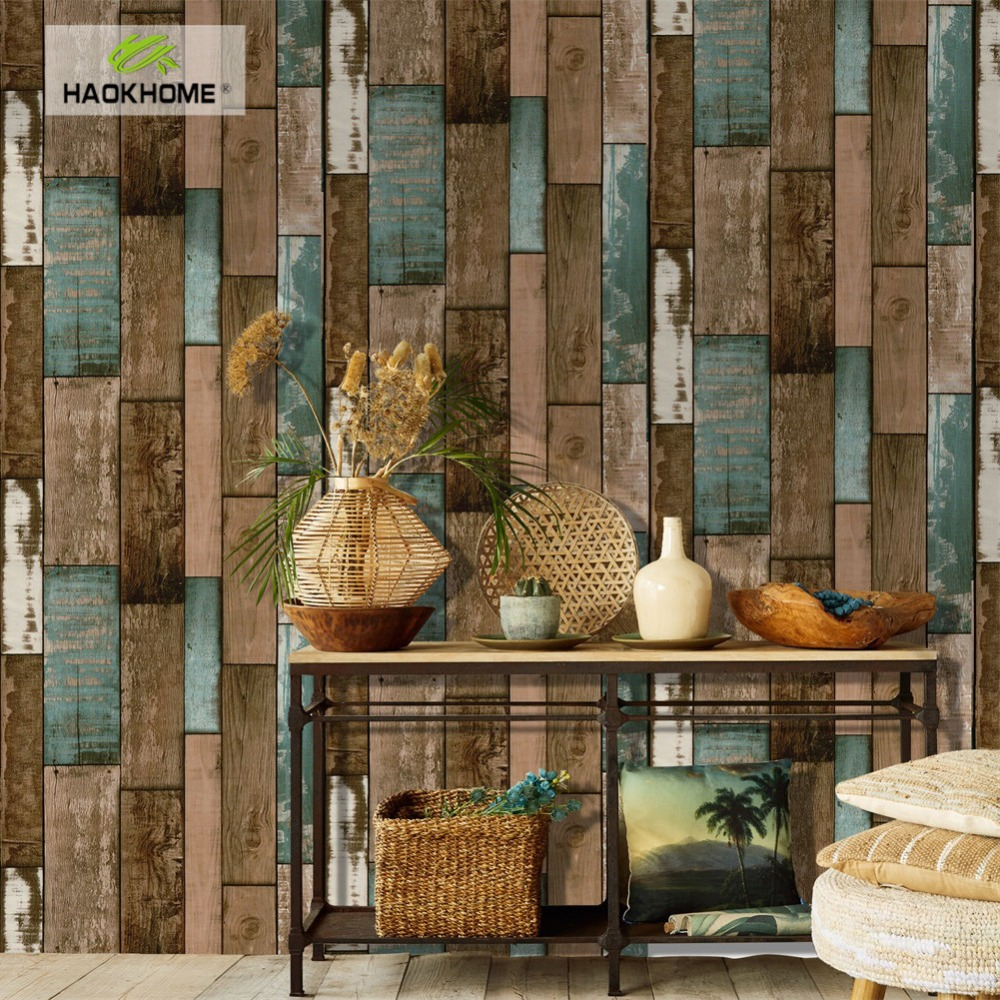 HaokHome Vintage Wood Plank Wallpaper for walls 3d Self Adhesive Brown Contact paper Mural Home Living Room Bedroom Decoration free shipping marble texture parquet flooring 3d floor home decoration self adhesive mural baby room bedroom wallpaper mural