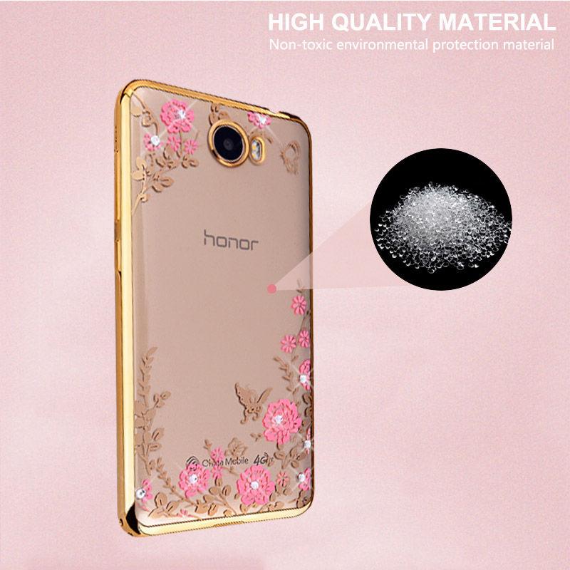 Plating Bumper Case for Huawei Y5 II Honor 5A LYO-L21 Cover Diamond Drilling Flower Soft TPU for Huawei Y5ii 2 Coque Fundas Capa