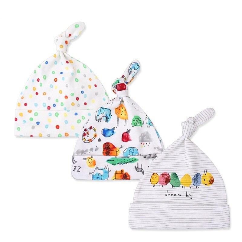 3 шт./лот маленьких Шапки 100% хлопок печатных детские Головные уборы для женщин для 0-6 месяцев новорожденных аксессуары для малышей kf268