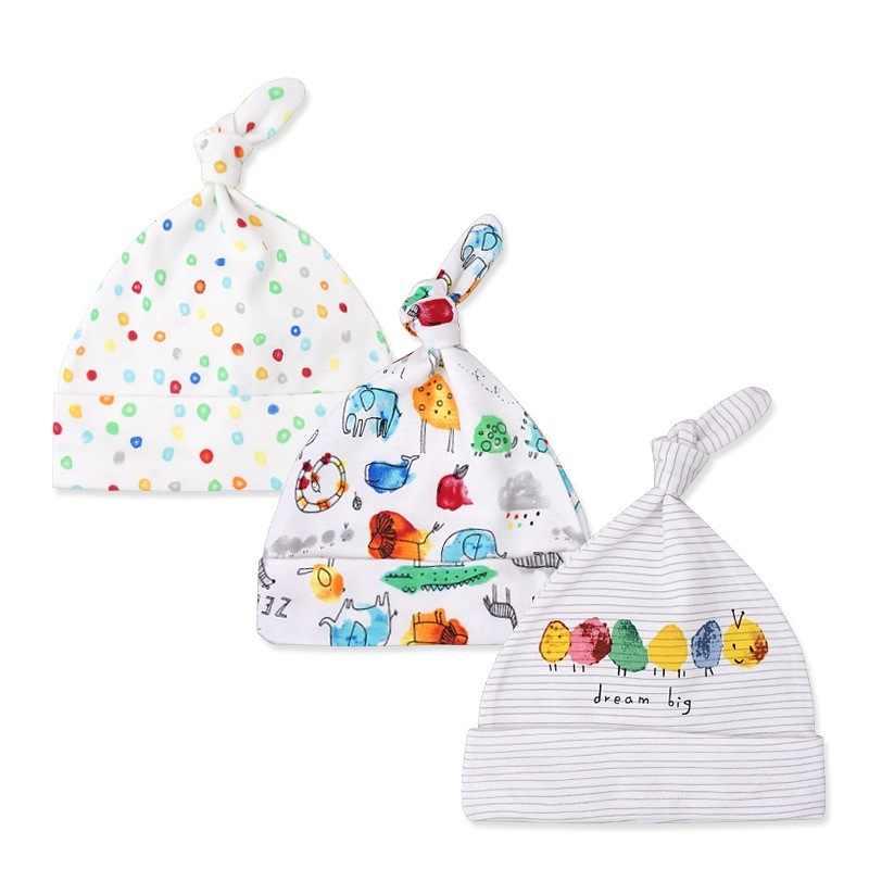3 Buah/Banyak Bayi Topi 100% Katun Dicetak Bayi Hats & Caps untuk 0-6 Bulan Bayi Baru Lahir Aksesoris Dropshipping KF268
