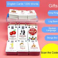 1200 Palavras de Aprendizagem Precoce Cartão de Imagem Chinese Flashcards Inglês Palavra Cartão Jogos Infantis Brinquedos Educativos para Crianças de Montessori