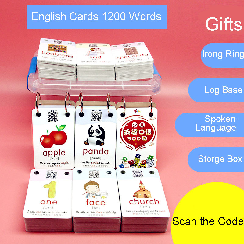 1200 Words Early Learning Picture Card Chinese English Flashcards Word Card Kids Games Educational Toys for Children Montessori