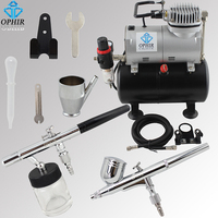 OPHIR 2 Airbrush Kits with Air Tank Compressor for Model Hobby Makeup System Machine Cake Airbrush Compressor_AC090+AC004A+AC072