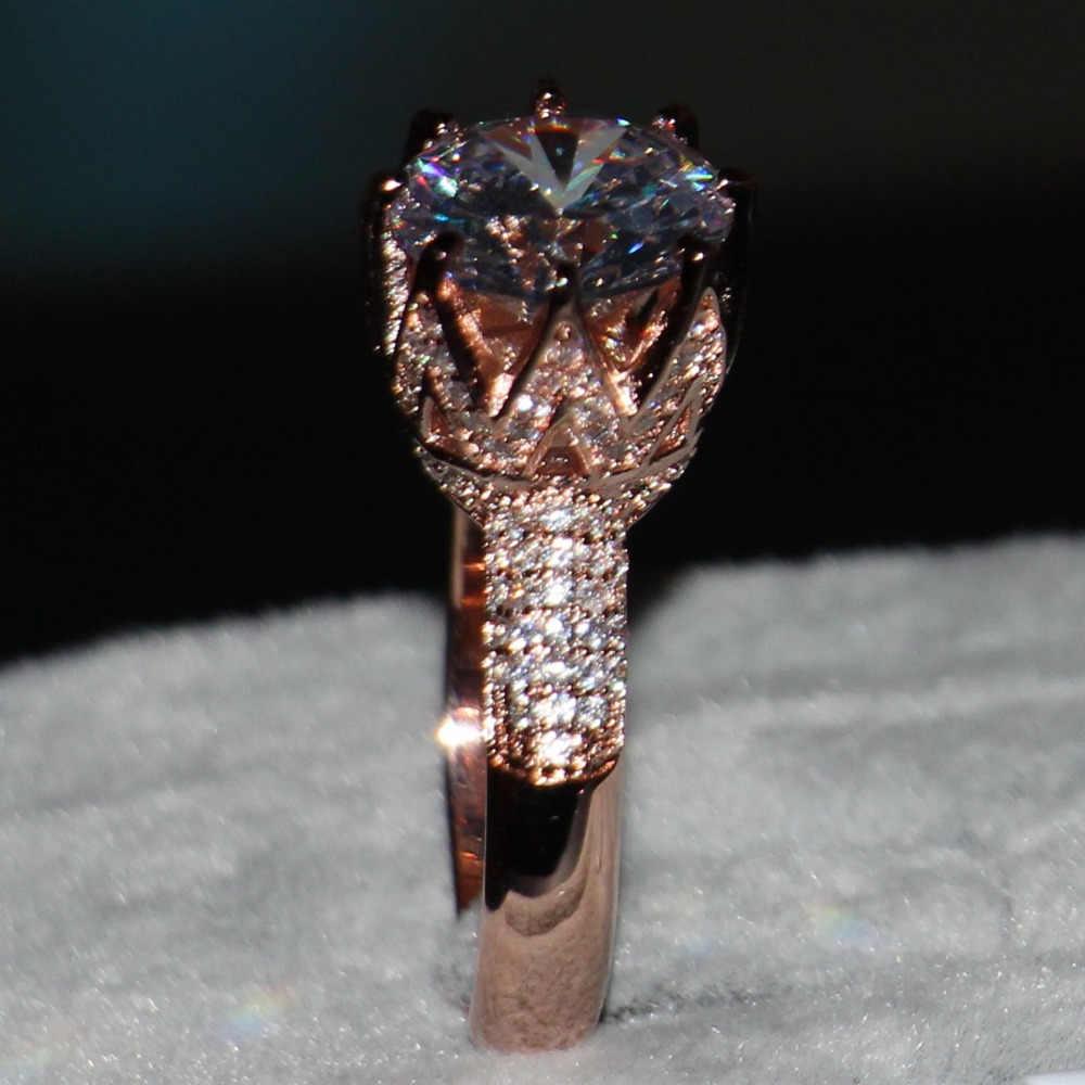 مجوهرات فاخرة 8ct سوليتير الفاخرة 925 الفضة 11 مللي متر كبير AAA تشيكوسلوفاكيا مقلد الأحجار الزفاف الفرقة ارتفع الذهب تاج النساء خاتم Size5-11