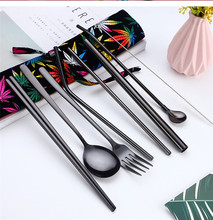 2019NEW Korean Stainless Steel Cutlery Set Portable Cutlery Chopsticks Fork Spoon Set Metal Straw Pipette Spoon Protable Bag creative fashion smile hollow spoon stainless steel chopsticks cutlery gift set