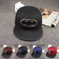 Hot Selling PU Leather Brim Sun Truck Hat Iron Batman Hip Hop Baseball Cap For Women Men Mesh Caps Visor Bone Snapback Gorras w4