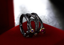 ZCD 505+++Japan and South Korea fashion black ring design simple fashion jewelry exaggerated(China)