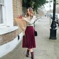 2017 Borgoña Gasa Faldas de Las Mujeres Por Encargo Chic Invisible Cremallera de Longitud de Té Plisado Faldas Primavera Invierno Maxi Saia