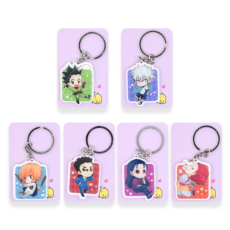 6 Styles Hunter x Hunter Keychain Killua Gon Keyrings Fashion Jewelry Key Chains Custom made Anime Key Ring PSS153-158 gon volume 3