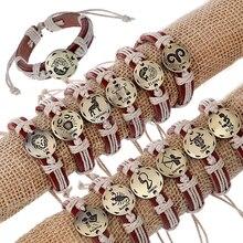 Horoscope Hot sale Adjustable unisex realcuff leather bracelets carved zodiac bangles wristband jewelry
