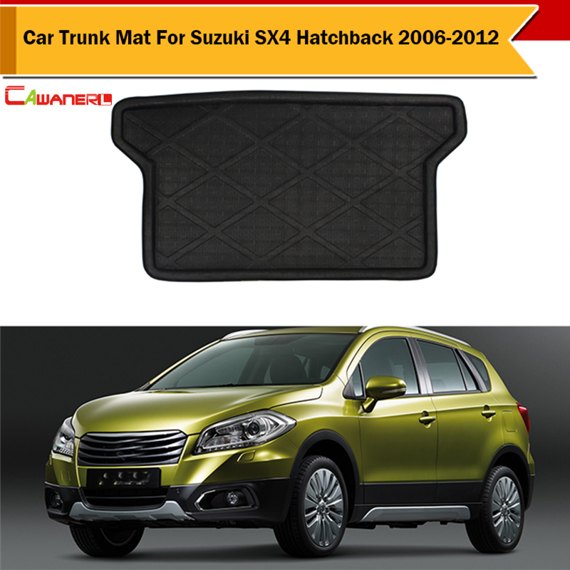 Cawanerl Car Protector Boot Tray Liner Cargo Trunk Mat Automotive Tail Carpet Easy Cleaning For Suzuki SX4 Hatchback 2006-2012