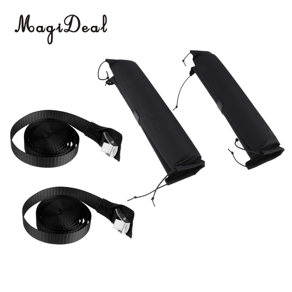 MagiDeal 1 Pair Soft Padded Kayak Surfboard Car Roof Bar Cover Rack Pads with 2Pcs 5m Tie Down Strap Quick Release Buckle