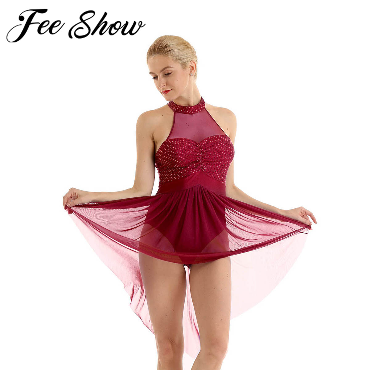 CHICTRY Lyrical Women Off The Shoulder Halter Neck Gymnastics Leotard Ballet Dance Dress