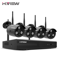 H VIEW 1080P NVR WIFI Surveillance Security Camera System 4CH 2MP Wireless CCTV Camera System CCTV