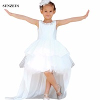 Crystal Beaded Neckline Flower Girl Dress Short Front Long Back Satin Wedding Party Gowns For Children Sexy Backless Gown FLG057