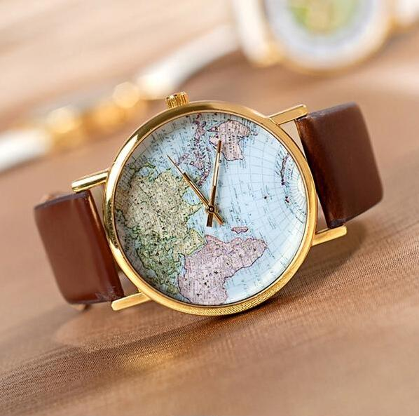 High Quality World Map Globe Fashion Leather Alloy Women Analog Quartz Watches Brown Gift