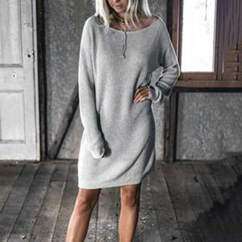 2018 Elegant Women Autumn Dress Knee Length Long Sleeve Outsize Loose O Neck Clothing Streetwear Solid Ladies Casual Dress