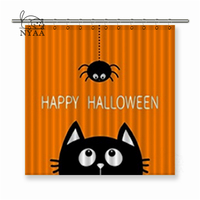 Nyaa Happy Halloween Black Cat Face Head Silhouette Looking Up to Hanging on Dash Line Web Spider Insect Shower Curtains