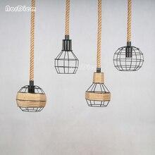 Lámparas colgantes de cuerda para loft lámpara de hierro forjado de estilo americano, lámpara de luz de cuerda, barra de café, comedor, para iluminación del hogar