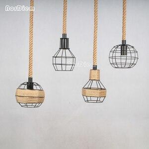 Image 1 - Lámparas colgantes de cuerda para loft lámpara de hierro forjado de estilo americano, lámpara de luz de cuerda, barra de café, comedor, para iluminación del hogar
