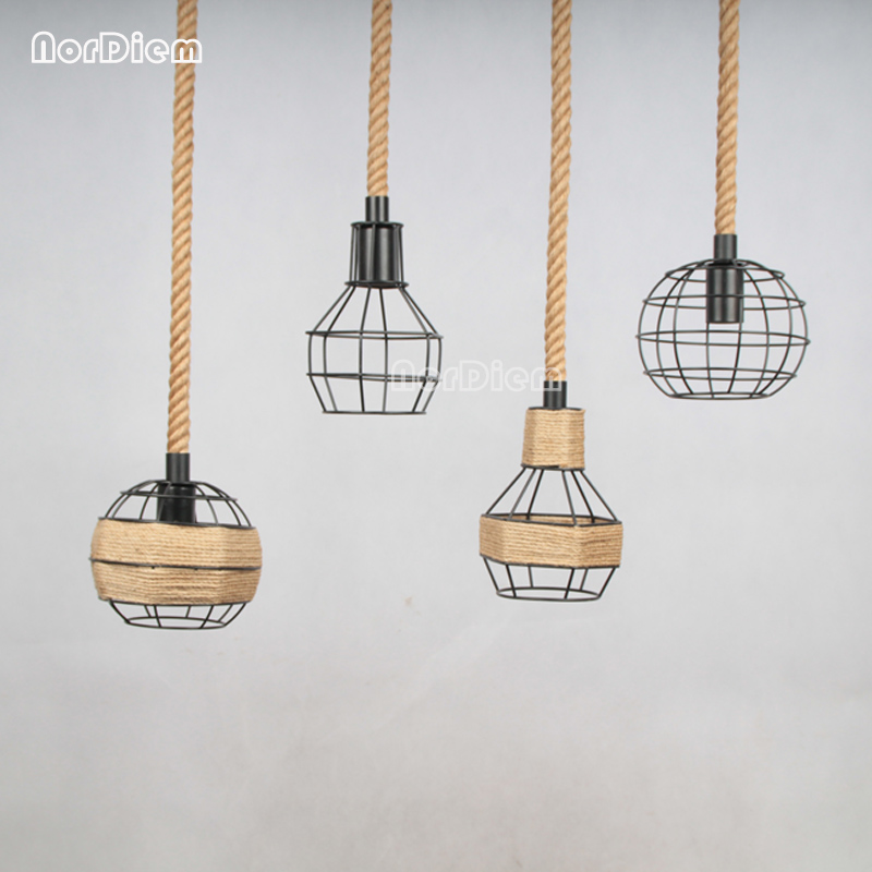 loft Rope Pendant Lamps American style Wrought Iron Lampshade rope light lamp Coffee Bar Dining Room hanglamp for home Lighting