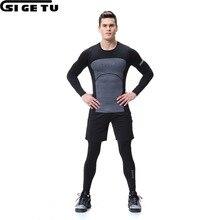 2017Men's Jogging Kit Four-Piece Quick-Sleeved с длинным рукавом для тренировки Спортивная одежда для фитнеса Колготки для фитнеса Одежда для тренировок