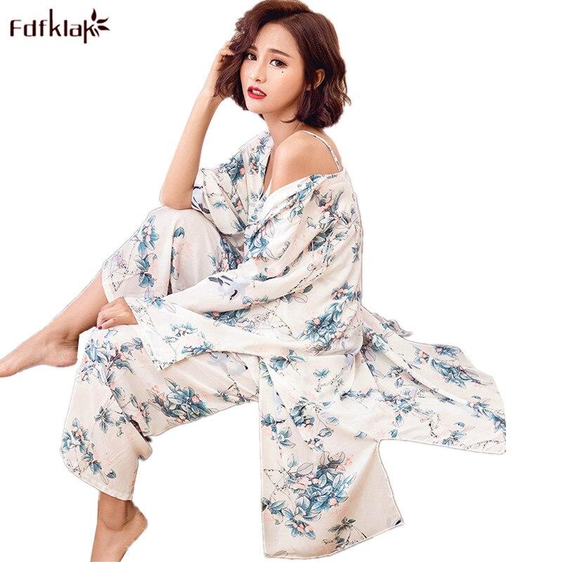 6c066d255 Fdfklak Women Pajamas Sets 3 Pieces Pajama Spring Summer Women's Pyjamas  Vintage Print Ladies Sleepwear Set Pijama Feminino