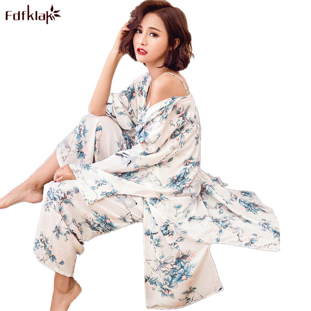 Fdfklak Women Pajamas Sets 3 Pieces Pajama Spring Summer Women's Pyjamas Vintage Print Ladies Sleepwear Set Pijama Feminino