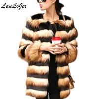 Luxury Faux fox fur Jacket hit color Yellow black striped imitation mink fur long coat Warm Fur Long Plush Windbreaker Outwear