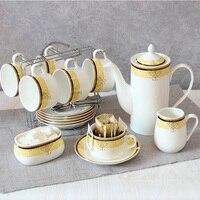Alta-Grau Requintado 15 pçs/set Jogo de Café Osso China Xícaras de Café de Porcelana Conjunto Enviar Prateleira Pote de Açúcar do Leite De Café frete Grátis