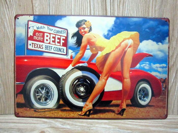 new arrivals ua 01101 sexy lady and car vintage metal tin signs 20x30cm home decor - Metal Signs Home Decor