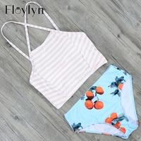 Floylyn Sexy High Neck Bikini Swimwear Women Push Up Swimsuit Beachwear Switchback Striped Swimsuit