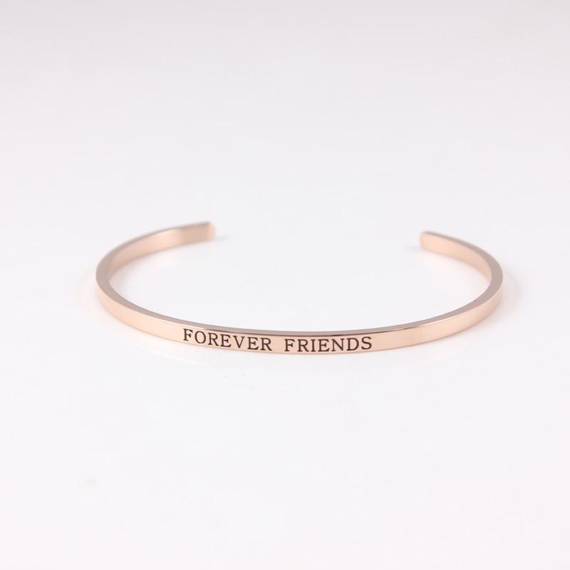 Bracelet en acier inoxydable 316L pour toujours ami Rose citation inspirante Bracelets Mantra Mantra Bracelets Bracelets