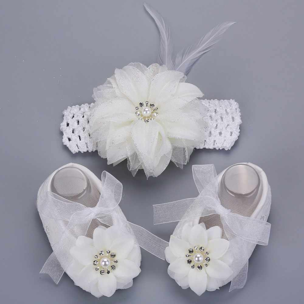 Infantil White Shoes Rhinestone Baby Shoes Girls Crown Headband Set;Pearl Shoes Baby Boots Newborn Babies Shoes First Walkers