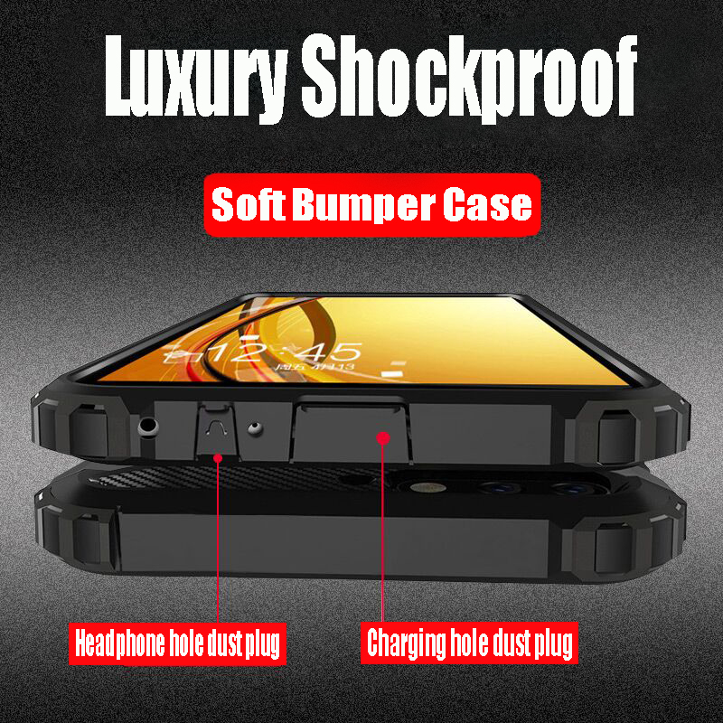 Luxury Armor Shockproof Bumper Case For Samsung Galaxy S8 S9 S10 Plus Silicone Phone Case For Galaxy S10e Note 8 9 Soft Case sticker