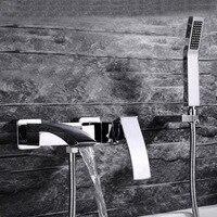 Роскошные латунь Ванна с водопадом кран, горячей и холодной смеситель для ванны, смесители для ванной комнаты Душ держатель ручной головы