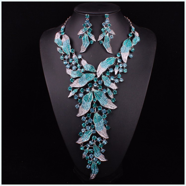 Luxury Blue Color Necklace Earrings Sets Rhinestone Tree Leaf Wedding Party Women S Statement Jewelry For Bridal In From