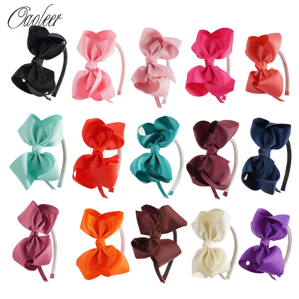 High Quality Baby Hair Band With Grosgrain Ribbon Bow Hair Band For Kids children accessories 15 pieces/lot