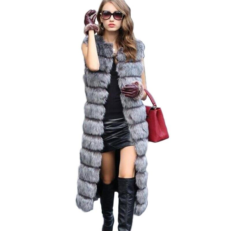 2019 الخريف الشتاء عالية الجودة رقيق تقليد الثعلب الفراء سترة المرأة طويلة سترة عارضة معطف الفرو تطول زائد حجم 6xl المرأة