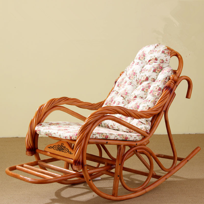 luxury rocking chair with cushions rattan wicker furniture indoor