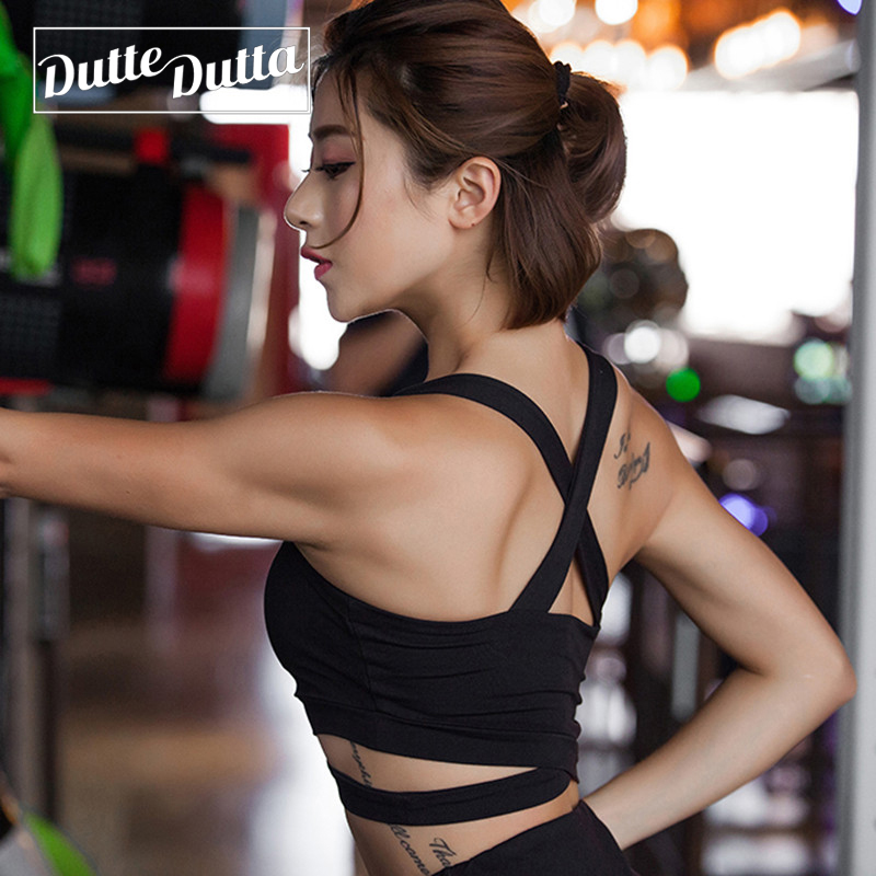 Duttedutta Solid Cross Strap Black Yoga Bra For Women Fitted Gym Workout Fitness Crop Top Bras Sexy Underwear Sportswear Vest